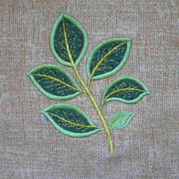 Fall leaf applique and embroidered quilt block by amy