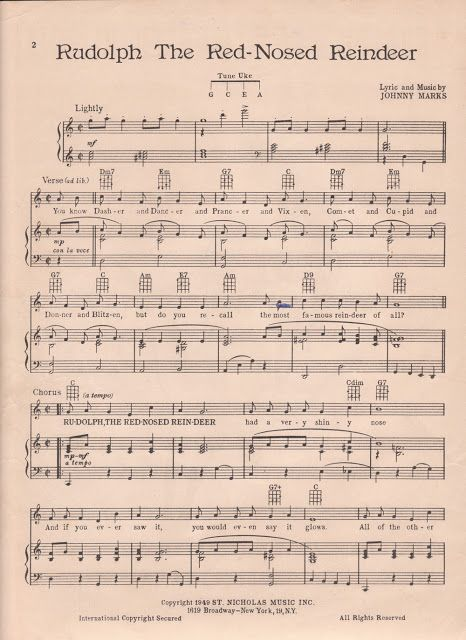 Vintage Rudolph The Red Nosed Reindeer sheet music printable for DIY ...