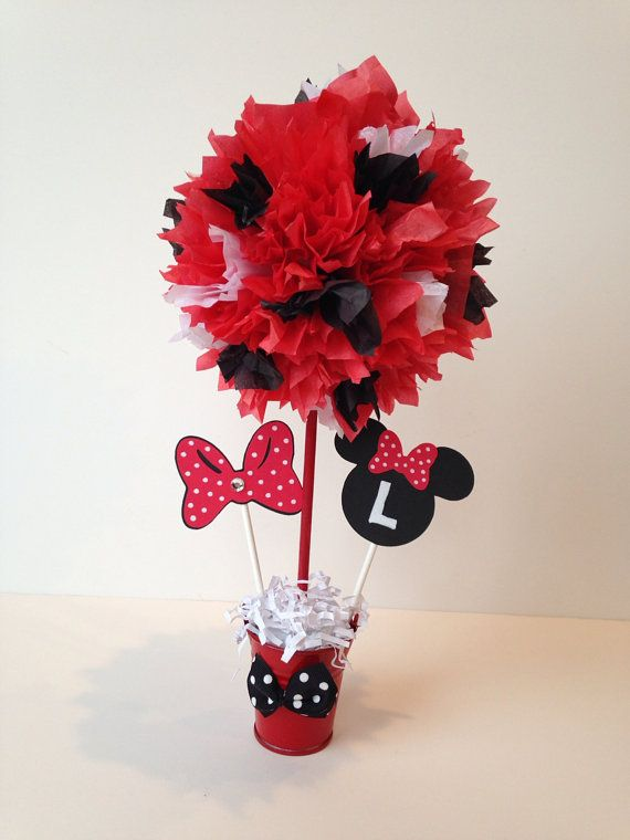 Minnie mouse birthday party decoration red centerpiece