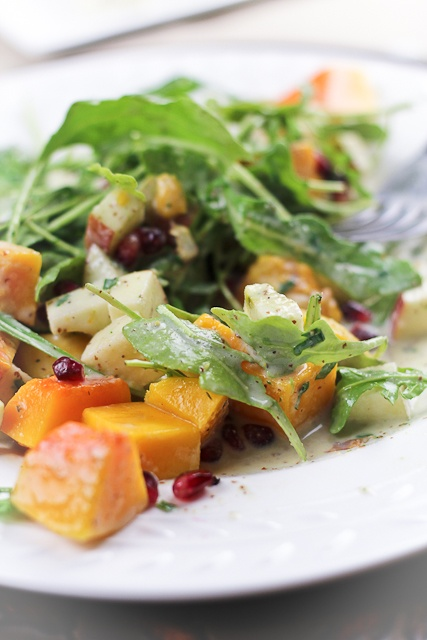 Butternut Squash & Apple Salad with Creamy Blue Cheese Dressing   Rec ...