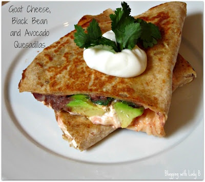 Goat Cheese, Black Bean, and Avocado Quesadillas