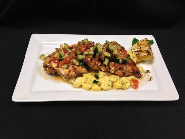 chicken breast over curry tarragon potato salad, with cucumber tomato ...