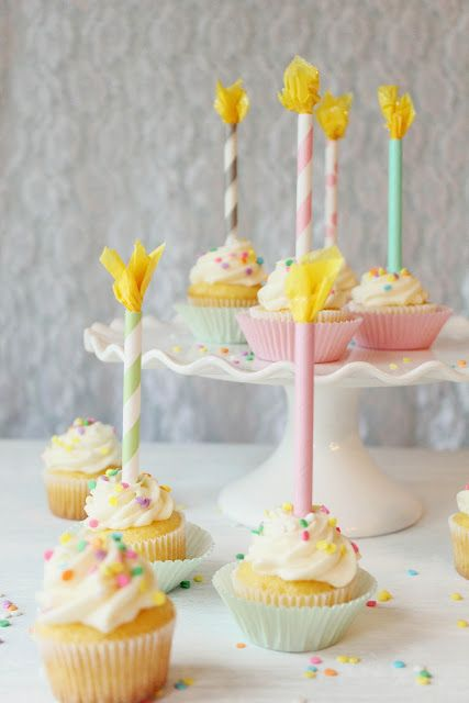 DIY paper straw birthday candles via http://icingdesignsonline.blogspot.com/2012/05/diy-paper-straw-birthday-candles.html