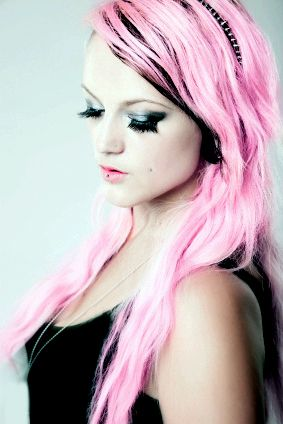 long pink and black hair alternative hair colours