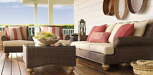 All-weather wicker set. Loving the color palette too.