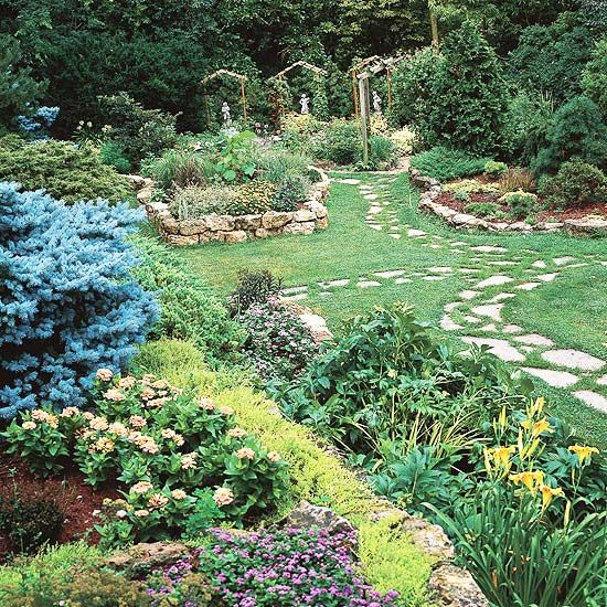 Garden path ideas stepping stone walkways - Pictures of stone pathways ...