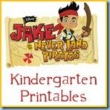 Jake & the Never Land Pirates Kindergarten Printables (free)