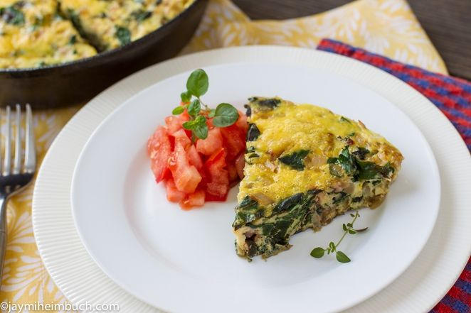 Savory swiss chard and onion frittata #vegetarian #recipe