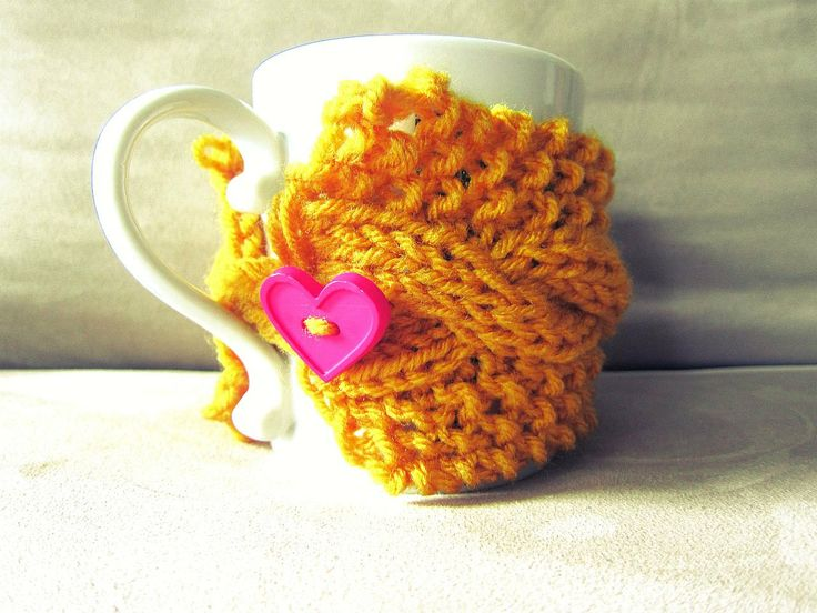 Mug Warmer Yellow Knitted Coffee Cup Cozy Pink Heart Button Loop Mustard Tea Hot Cocoa Sleeve Cable Knit  Crochet Sleeve - Made To Order. $12.00, via Etsy.