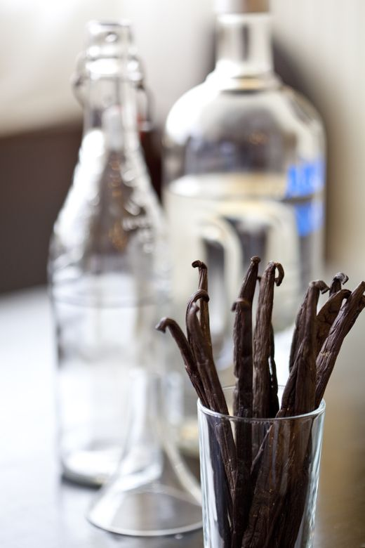 Homemade Vanilla Extract made with good vodka or bourbon. As you use ...