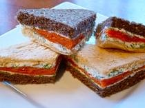 Smoked Salmon Tea Sandwiches. This looks nice with the white and brown ...