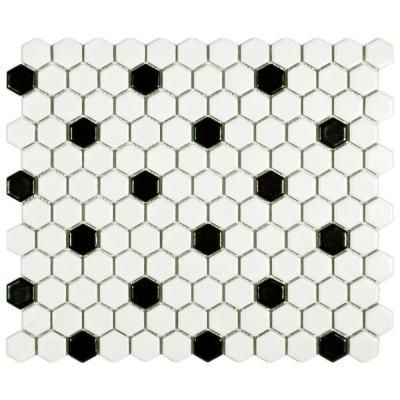 Merola Tile Metro Hex Matte White with Black Dot 10-1/4 in.x 11-3/4 in. x 5 mm Porcelain Mosaic Floor and Wall Tile (8.54 sq.ft./ca)-FDXMHMWD at The Home Depot