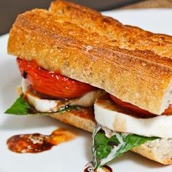 Balsamic Roasted Tomato Caprese Sandwich - Closet Cooking