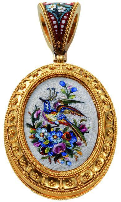 Micro Mozaik Ékszerek | Micro mozaik üveg medált, valószínűleg Rómából, ...  | Klasszikus Ékszer