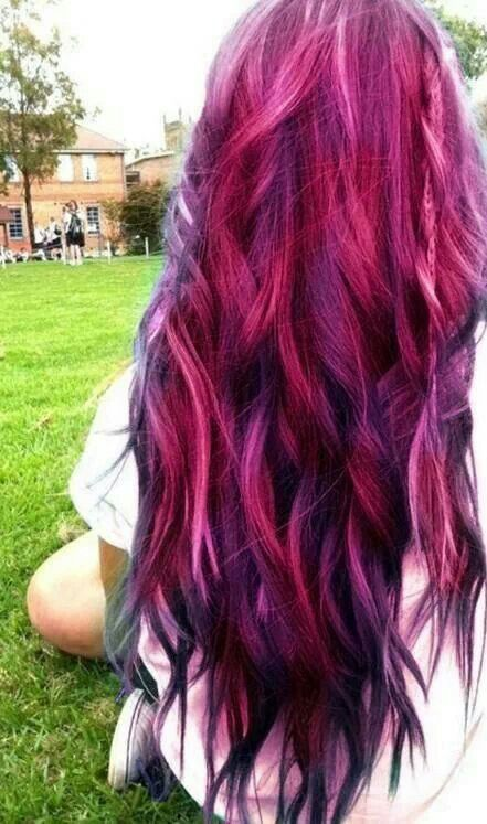 Red Pink Purple Black Hair Color  Hair Ideas  Pinterest