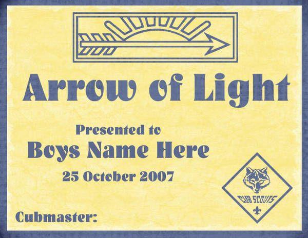 arrow of light certificate scouts pinterest