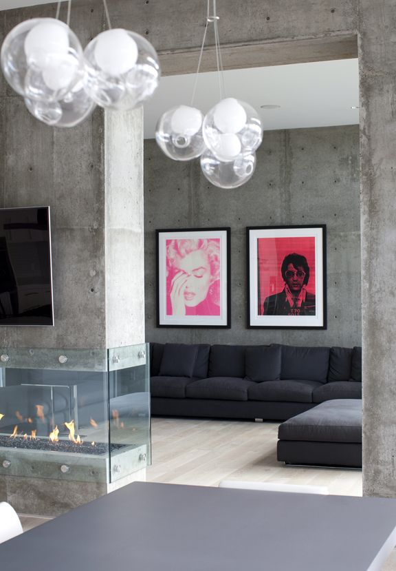 Concrete interior, bright pops of colour. Love.