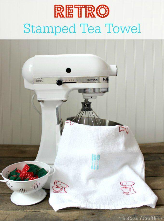 Retro Stamped Tea Towel