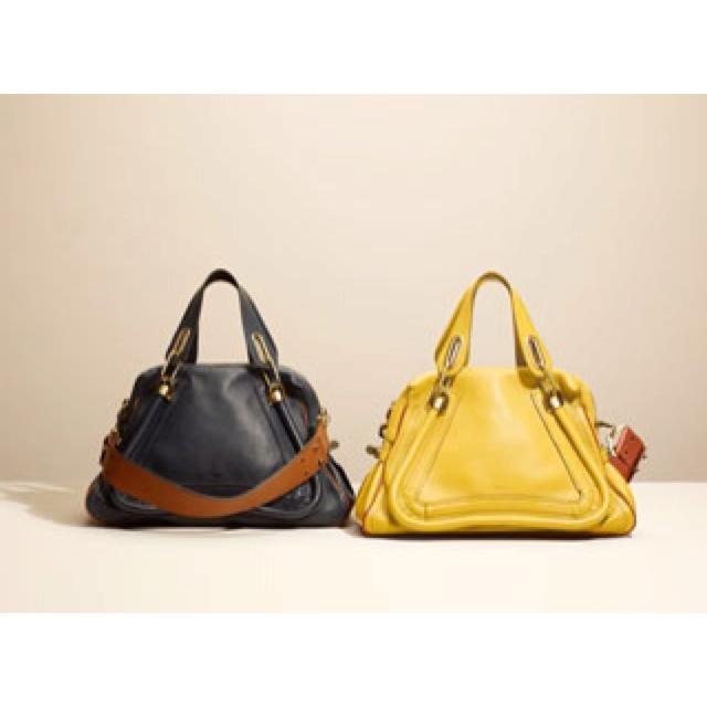 Navy blue and yellow Chloe bag.