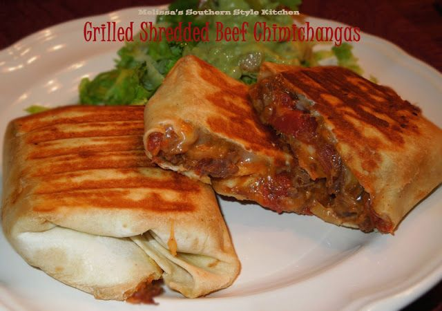 Grilled Shredded Beef Chimichangas | Dinner Ideas! | Pinterest