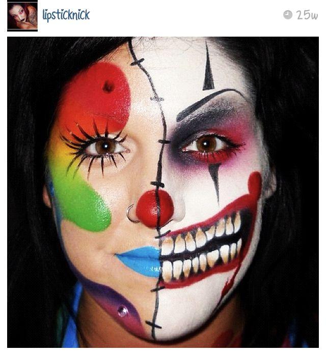 half dead clown halloween makeup face paint pinterest