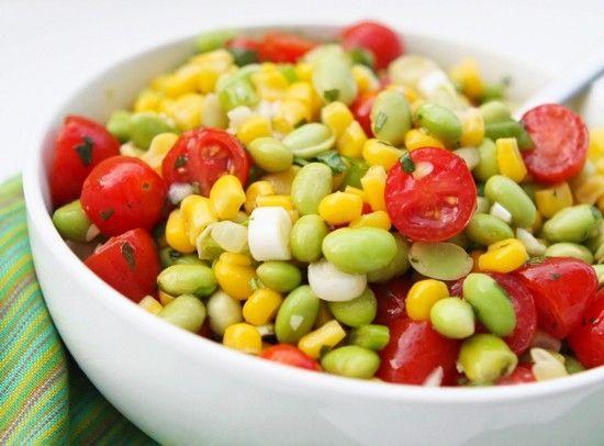 ... Edamame Summer Salad. #salad #vegetables #corn #food #edamame #