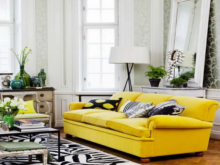 Modern Living Room Design Ideas With Fabric Yellow Sofa Three Seat And