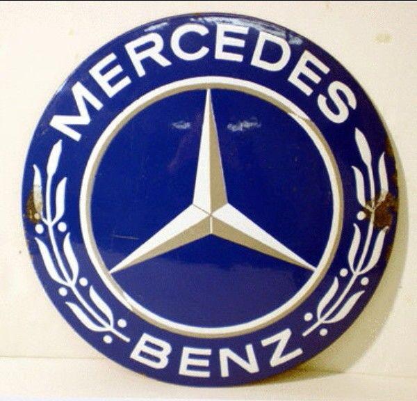 Mercedes benz enamel sign 40 pinterest for Mercedes benz sign for sale