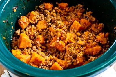slow-cooker sweet and spicy ground turkey and sweet potato stew with ...