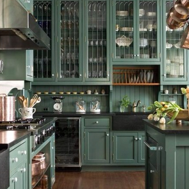 Teal kitchen!  Home  Kitchens  Pinterest
