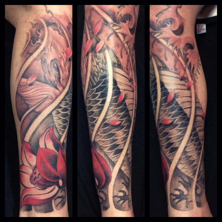 Koi fish leg sleeve tattoo by monkeytoy for Koi fish australia