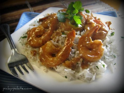 Sweet and Spicy Almond Glazed Shrimp Over Cilantro Basmati Rice ...