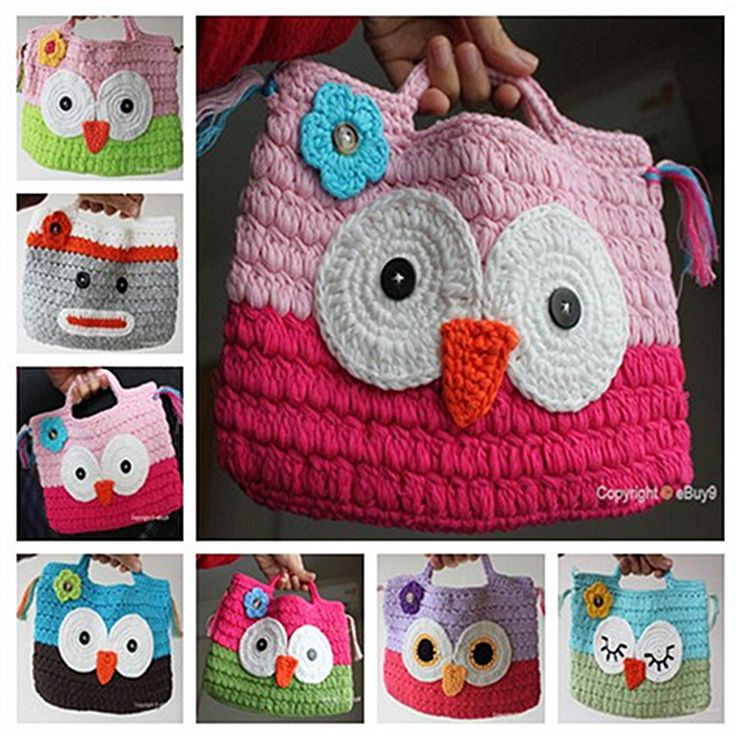 Crochet Bag For Kids : Girl Kids Handmade Crochet Cute /Owl Sock Monkey Handbag Purse Bag bmm ...
