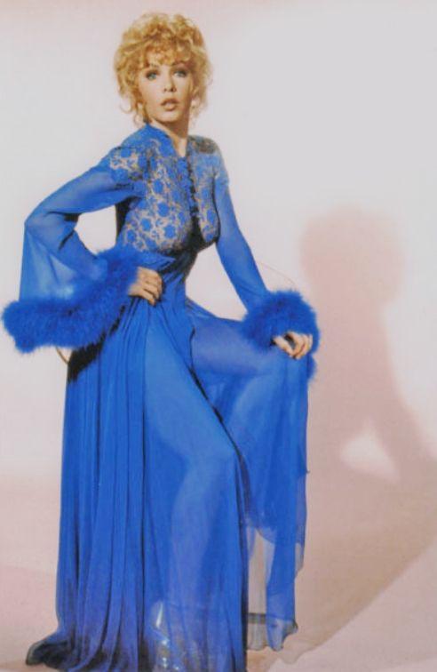 Stella Stevens in stunning blue negligee circa 1950s