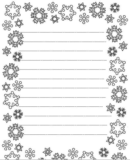 Snowflake Writing Template Snowflake Lined Writing Paper