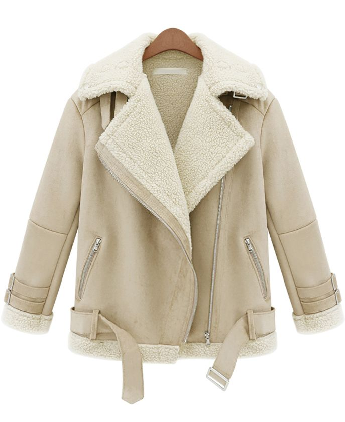 Beige Lapel Long Sleeve Zipper Wool Coat