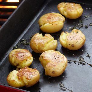 Grilled Smashed Potatoes with Lemon-Oregano Vinaigrette