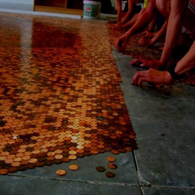 Pennies as flooring