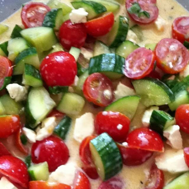 Tomato/Cucumber Salad: Cherry tomatoes, English cucumbers, green ...