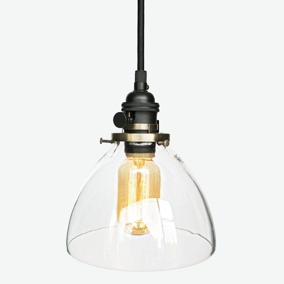 hand blown glass cloth cord black pendant light