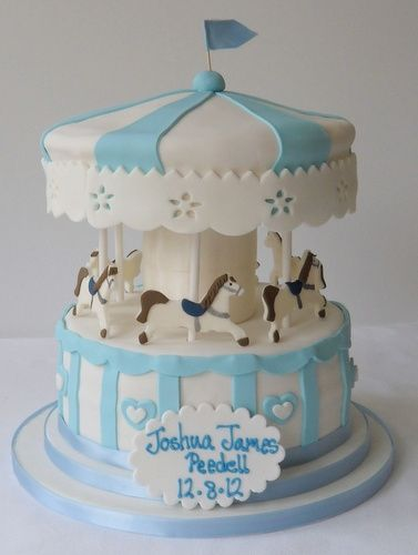Carousel Baby Shower Cake - do it in pink - no name for baby to be ...