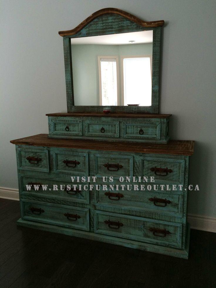 Rustic Turquoise Bedroom Set