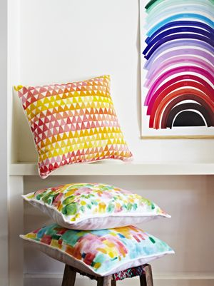 Orange/Yellow Triangle Cushion - Poppies for Grace