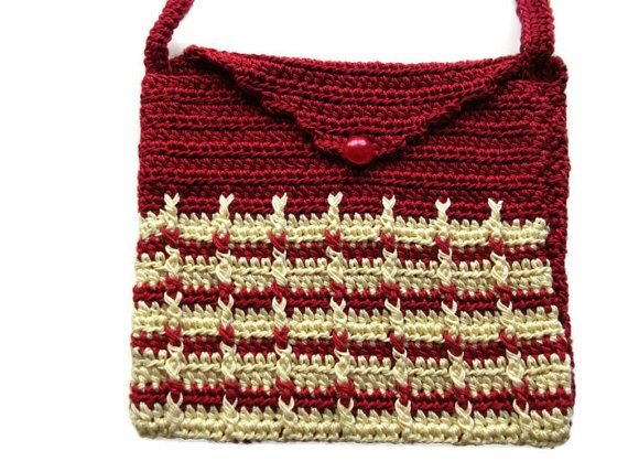 Mini Crochet Bag : Crochet Shoulder Purse Mini Bag Purse Pouch OOAK by Crochet50, $11.99