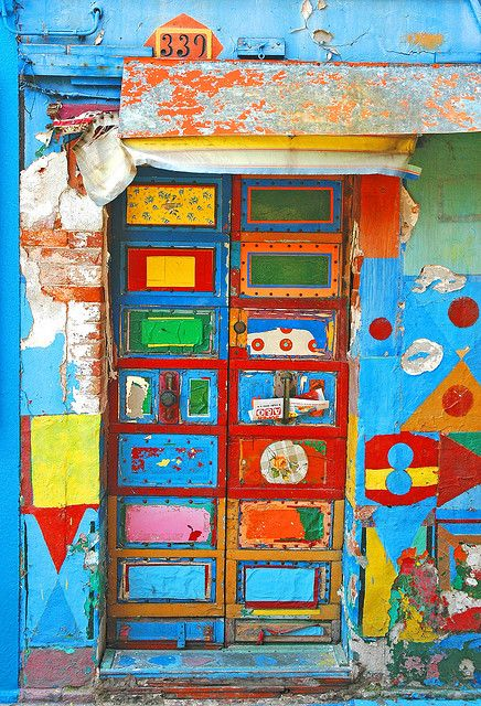 Colorful door. Burano, Italy