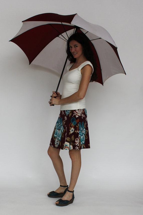 Continental Skirt Burgundy Turquoise Orange by melaniegracedesigns