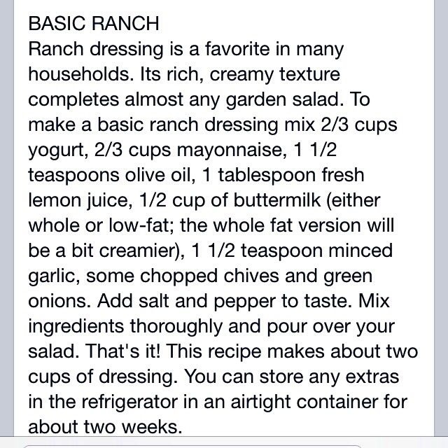 Basic RANCH DRESSING | Delicious | Pinterest