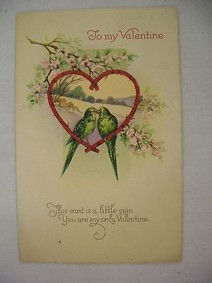 Valentine s postcard two birds kissing in heart w flowers poem 1927