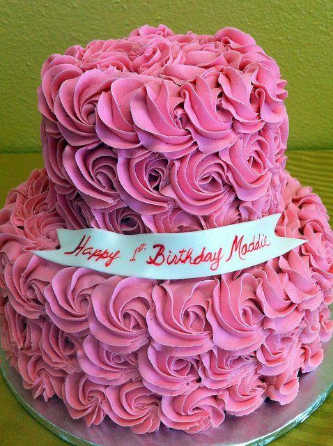 Pink roses birthday cake Happy Birthday Pinterest