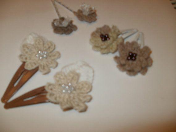 Crochet Hair Using Bobby Pin : Crochet hair clips/Crochet hair bobby pins set6 by BeaBlopShop, ?6 ...